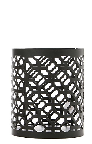 Hosley Black Geometric Jar Candle Holder Sleeve LED Lantern