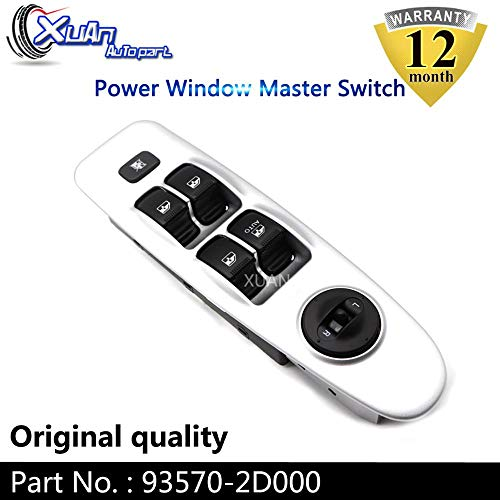 Fincos Xuan Front Left Driver Side Power Window Master Control Switch Button 93570-2D000 for Hyundai Elantra 2.0L 2001-2006