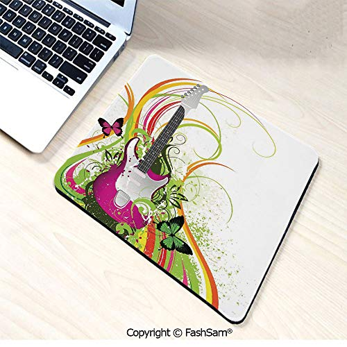 (Personalized 3D Mouse Pad Musical Composition with a Guitar Colorful Ornament Flourishes Plant Curl for Laptop Desktop(W9.85xL11.8))
