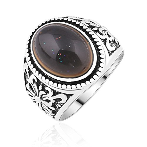 Yoga Buddha beads Amber Oval Color Engraved Retro Style Change Mood Ring Emotion Feeling Changeable Ring (9)