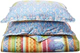 Echo Design Sofia Duvet Cover Full/Queen Size - Indigo , Paisley Duvet Cover Set - 3 Piece - Cotton Light Weight Bed Comforter Covers