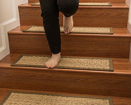 Natural Area Rugs 100% Natural Fiber Half Panama, Seagrass Sage, Handmade Stair Treads Carpet Set of 13 (9x29) Malt Border