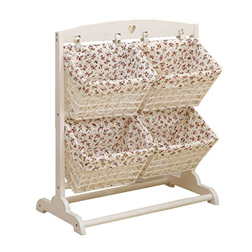 Hty zwj Wooden Storage Basket, Multi-Function Rack Floor Debris Storage Rack Bedroom/Living Room Multi-Layer Rattan Storage Rack Book Magazine Rack (Color : D) -