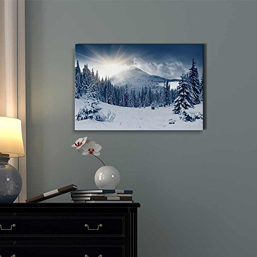 Winter Mountain Snow Covered Trees Wall Decor