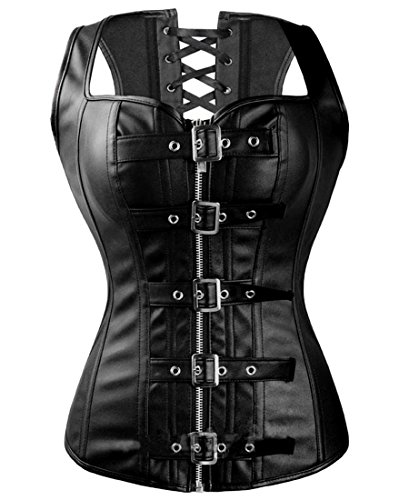 Fashion Corset Top Overbust Steampunk Bustier Lace Up Women's Buckle&Zipper Faux Leather Waist Cincher Corset Black ()