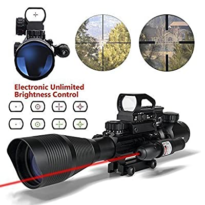 AR15 Tactical Rifle Scope Combo C4-12x50 with R&G Laser and 4 Holographic Red&Green Dot Sight for 22&11mm Weaver/Picatinny Rail Mount from Aipa