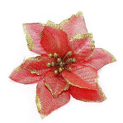 Christmas Flower Arrangements Artificial.Sky Town 10pcs 13cm Glitter Christmas Artificial Flower Decorations Artificial Flowers For Home Decor Indoor Outdoor Artificial Flowers Christmas