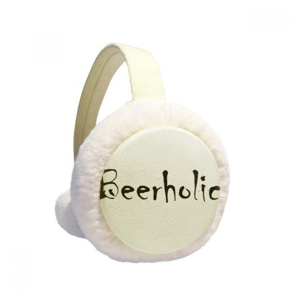Stylish Word Beerholic Winter Earmuffs Ear Warmers Faux Fur Foldable Plush Outdoor Gift