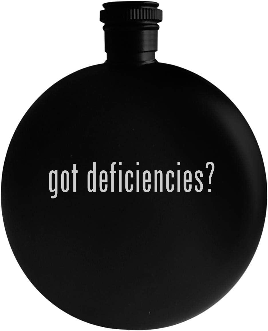 got deficiencies? - 5oz Round Alcohol Drinking Flask, Black