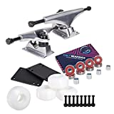 Cal 7 5.25 Inch Skateboard Trucks, 52mm Wheels, Plus Bearings Combo Set (Silver Trucks, White Wheels)