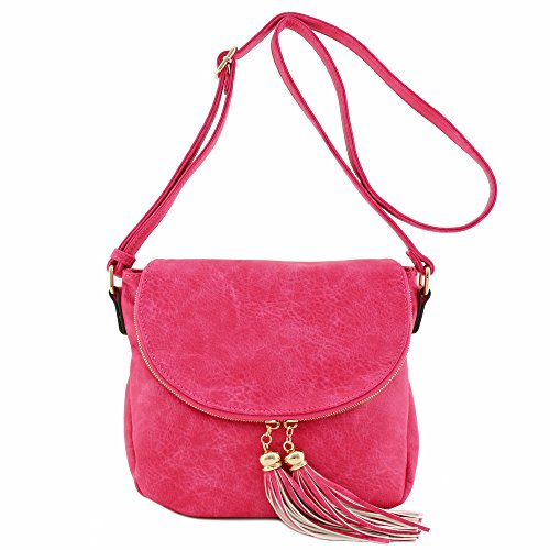 Tassel Accent Crossbody Bag with Flap Top (Fuchsia) by Alyssa