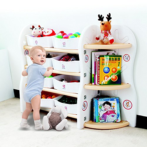 Toy Storage Organizer For Kids Collection Rack of Children Deluxe Plastic bookshelf and basket Frame Sundries with 8 toy organizer bins Bins (A+C) by Gupamiga