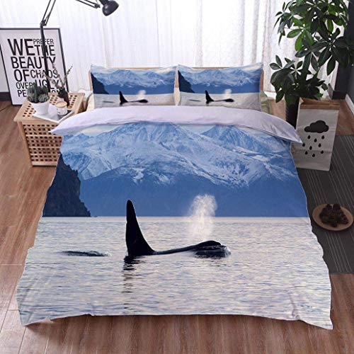 - VROSELV-HOME Full Queen Duvet Cover Sets,Orca Whale Blowing Out Water by Snow Covered Mountains,Soft,Breathable,Hypoallergenic,Duvet Cover with Pillowcases Child Bedding Sets,