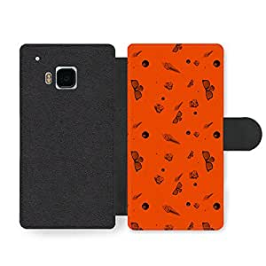 Ice Cream Sunglasses 8 Ball Orange Background Cool Hipster Style Design Faux Leather case for HTC One M9