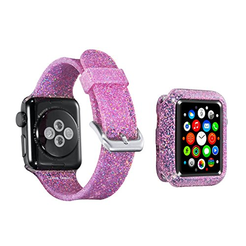 for Apple Watch Band 42mm Apple Watch case iWatch Band for Women Bling Stylish Glitter Silicone Sports Replacement Strap for Apple Watch Series3/2/1 (42mm-Pink Band Bumper Set)