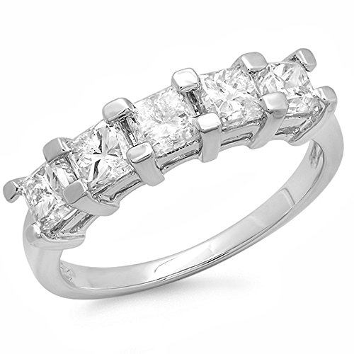 2.00 Carat (ctw) 18K White Gold Princess White Diamond 5 Stone Bridal Wedding Anniversary Band 2 CT