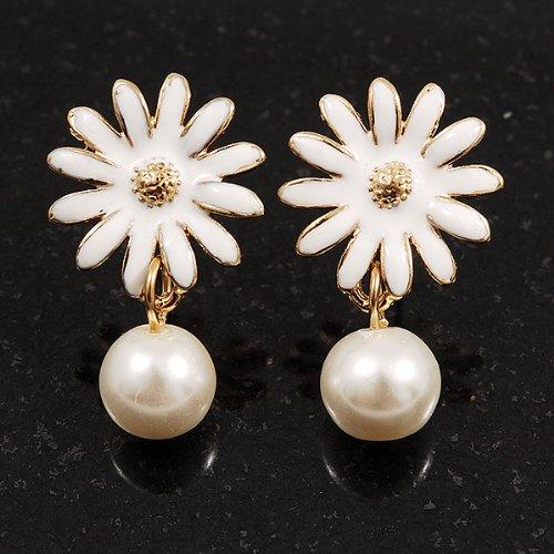 Petites boucles d'oreille Fleur émail blanc (finition plaqué or) - longueur 2,5cm