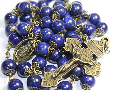 Large Genuine Lapis and Bronze 10mm 5 Decade Natural Stone Bead Rosary Made in Oklahoma