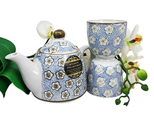 Atlantic Collectibles Japanese Cherry Blossom 14oz Ceramic Tea Pot and Cups Set Serves 2 People (Blue Polkadots)
