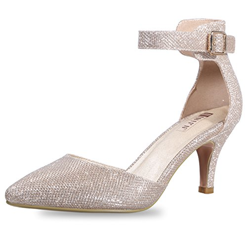 IDIFU Women's IN3 D'Orsay Pointed Toe Ankle Strap Mid Heel Pump (Gold Glitter, 10 B(M) US) -
