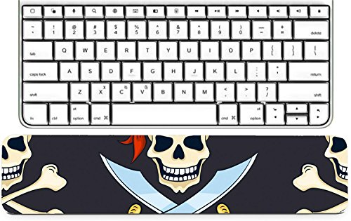 Luxlady Keyboard Wrist Rest Pad Long Extended Arm Supported Mousepad IMAGE ID: 34258795 Cartoon vector hand drawn pirate skulls seamless pattern Halloween backg]()