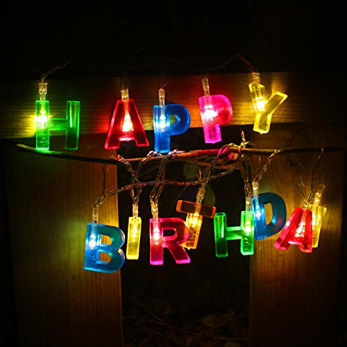 RECESKY Happy Birthday Lights - 13 LED Letter Battery Operated String Lights 6ft Birthday Party Decor Supplies for Indoor, Home, House, Christmas Lighting, Birthday Decorations (Multi Color)