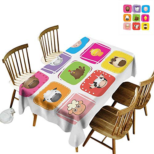 Cranekey Outdoor Rectangular Tablecloth W60 x L84 Baby Geometric Pattern with Squares Animal Faces Horse Chicken Cow Duck Sheep and Pig Silver Emerald for Home Party Wedding & More (Pokemon Emerald Best Party)