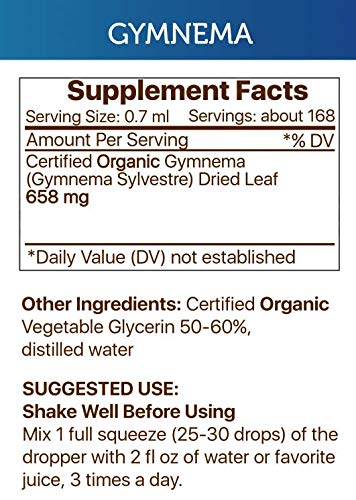 Gymnema Liquid Extract Alcohol-Free Tincture, Organic Gymnema (Gymnema Sylvestre) Dried Leaf (2x4 fl oz) by Secrets of the Tribe (Image #1)