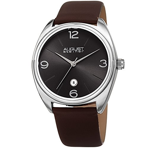 August-Steiner-Mens-Quartz-Stainless-Steel-and-Leather-Casual-Watch-ColorBrown-Model-AS8231SSBR