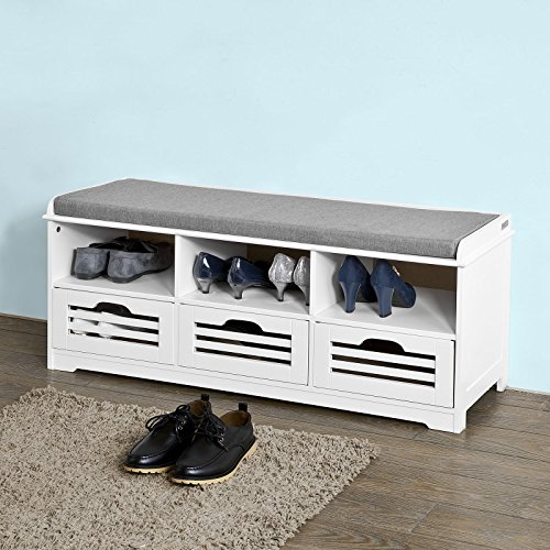 SoBuy Storage Bench with 3 Drawers & Seat Cushion, Shoe Cabinet Storage Unit Bench,FSR36-W,white (Storage Bench Seat)