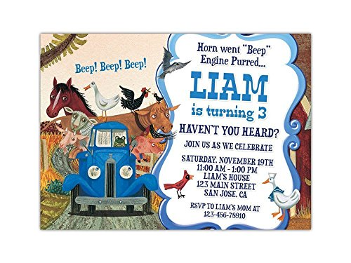 Little Blue Truck Birthday Party Invitations ANY AGE Custom