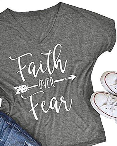 Qrupoad Womens Summer Casual Letter Print T-Shirt Short Sleeve Faith Over Fear Arrow Tee Tops Christian Juniors T-shirts