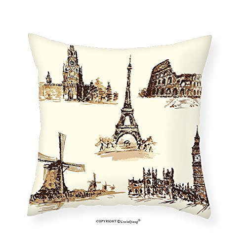 VROSELV Custom Cotton Linen Pillowcase Ancient European Landmark Traveller Tourist Cities Italy France Spain Sketchy Image for Bedroom Living Room Dorm Brown and Cream 26''x26'' by VROSELV