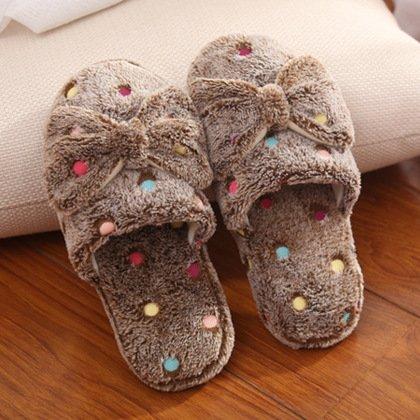 Y-Hui Butterfly pantofole di cotone Lady inverno caldo cotone trascina Home Indoor antislittamento pantofole in lana,3839 (per il 3738),caffè