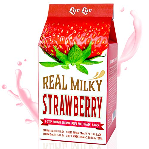 LOVLUV Real Milky Strawberry Face Masks, K Beauty Moisturizing and Hydrating Facial Sheet Set, Two-Step Skin Care…
