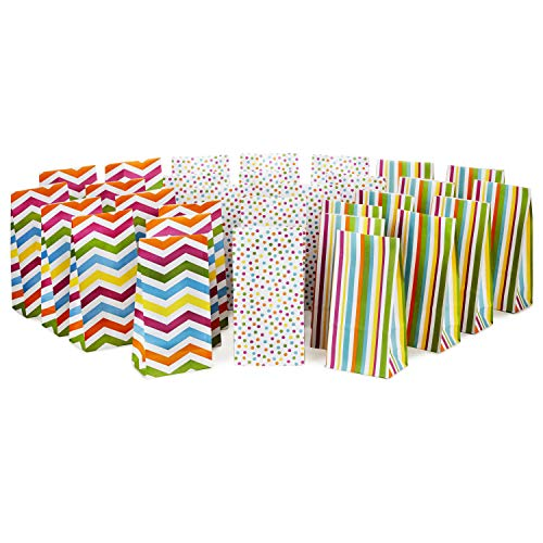 Hallmark Spring Pastel Party Favor and Wrapped Treat Bags, Assorted Designs (30 Ct., 10 Each of Chevron, Dots, Stripes) for Baby Showers, Birthdays, Easter, Mothers Day, Care Packages, May Day
