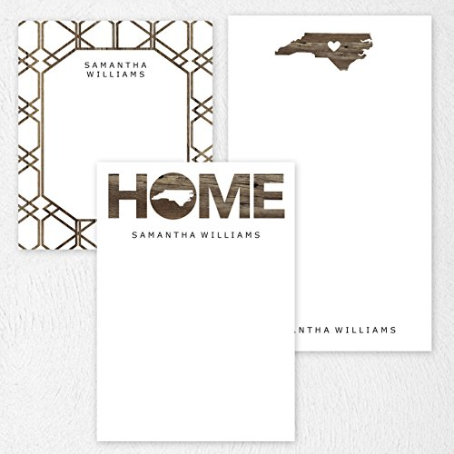 Custom North Carolina State Note Pad Set, Personalized Stationery - 50 sheets per note pad - 3 designs and sizes: 4.25x5, 4.25x6, 4.25x7. Made in the USA.
