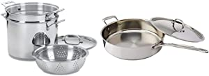 Cuisinart 77-412 Chef's Classic Stainless 4-Piece 12-Quart Pasta/Steamer Set,Stainless Steel & 733-30H Chef's Classic Stainless 5-1/2-Quart Saute Pan with Helper Handle and Cover, Silver