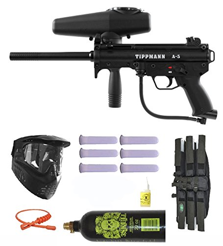 Tippmann A-5 w/ Selector Switch Paintball Marker Gun 3Skull Mega Set (Tippmann Hoppers Paintball)