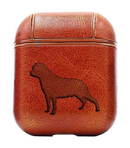 (Animal Rottweiler Dog (Vintage Brown) Air Pods Protective Leather Case Cover - a New Class of Luxury to Your AirPods - Premium PU Leather and Handmade exquisitely by Master)