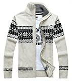 Product review for 2018 Men's Winter Knitted Flower Pattern Zip Up Cardigan Sweater