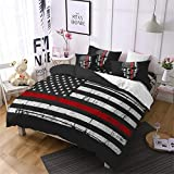 Jessy Home American Flag Duvet Cover 3PC King Size Fourth of July Independence Day Theme Decor USA Bedding Retro Red Stripes USA Flag Quilt Cover with 2 Skull Pillow Cover Red and Black
