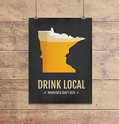 Minnesota Beer Print Map - MN Drink Local Craft Beer Sign, Wall Art, Décor, Canvas, Boyfriend Gift, Husband Gift, Beer Gift, Beer Art, Minimal, Custom, Personalized, Minneapolis, St Paul Poster