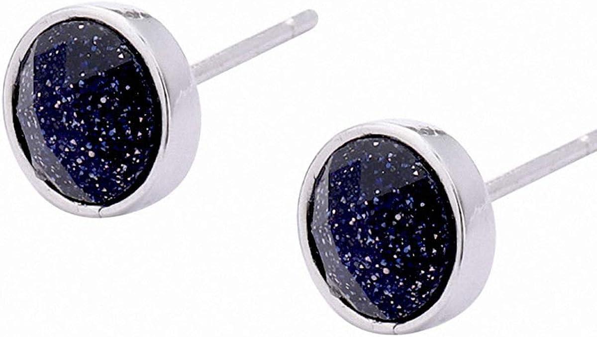 Lotus Fun - Pendientes de ágata negra con baño de oro blanco de 18 quilates, 7 mm, redondos, para mujer, para novia, plata de ley 925