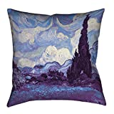 ArtVerse Vincent Van Gogh Indigo Wheatfield with Cypresses x Floor Pillows Double Sided Print with Concealed Zipper & Insert, 40'' x 40''