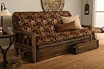 """Rustic Lodge Wood """"Frame, Drawers and Mattress"""" 8 Inch Innerspring Mattress Futon Set by Jerry Sales"""
