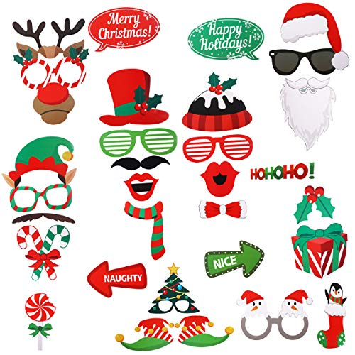 Christmas Photo Booth Props,MSDADA 32 Pieces DIY Photo Prop Pose Sign Kits for Christmas New Years Holiday Party Supplies