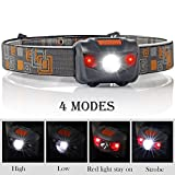 Waterproof LED Headlamp Flashlight- 4 Modes(White lights/ Red Lights and SOS)- Great for Reading Running, Hiking, Camping, Kids and More, Long Battery Life (3AAA Batteries Included)