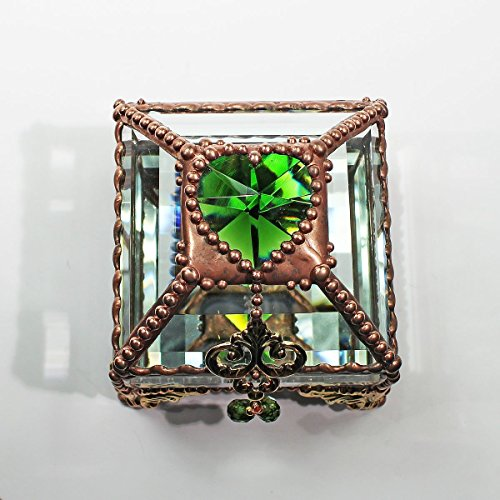 Heart Box, Stained Glass Box, Wedding Ring Box, Engagement Ring Box, Birthstone by Glass Treasure Box
