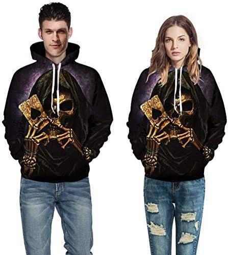 NA Spring Autumn New Men's Sweatshirt 3D Skull Trend Printed Funny Spring Sweatshirt for Men Streetwear Hooded Sweatshirt Poker Casual Clothes,M